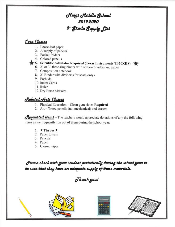 SUPPLY LISTS AVAILABLE - Meigs Primary School